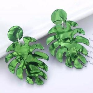 Green Resin Banana Leaf Earrings